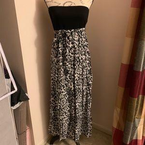 Black leopard print strapless maxi dress